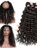 baratos Saias Femininas-Cabelo Malaio 360 Frontal / Onda Profunda Cabelo Virgem Um Pacote de Solução Tramas de cabelo humano 8a Extensões de cabelo humano