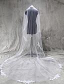 abordables Vestidos de Novia-1 capa Con aplicación de encaje Velos de Boda Catedral Con Apliques Tul