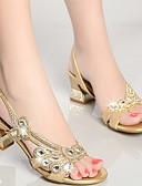 cheap Historical & Vintage Costumes-Women's Shoes Nappa Leather Summer Club Shoes Sandals Chunky Heel Rhinestone Gold / Purple / Blue / Party & Evening / Party & Evening