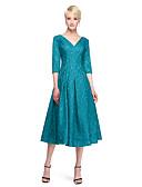 cheap Bridesmaid Dresses-Ball Gown V Neck Tea Length Lace Bridesmaid Dress with Lace by LAN TING BRIDE®