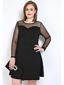 baratos Vestidos Femininos-Mulheres Tamanhos Grandes Evasê / Reto / Camiseta Vestido - Com Transparência, Estampa Colorida Altura dos Joelhos
