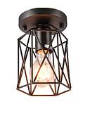 cheap Women's Headpieces-Vintage Mini 1-Light Black Metal Cage Loft Ceiling Lamp  Flush Mount Dining Room Kitchen  Light Fixture