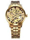 tanie Zegarki mechaniczne-WINNER Męskie Zegarek na nadgarstek zegarek mechaniczny Nakręcanie automatyczne Złoty Wgłębione grawery Analog Luksusowy - Srebrny Złota