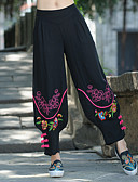 cheap Women's Pants-Women's Chinoiserie Loose Loose / Chinos Pants - Multi Color Print Black
