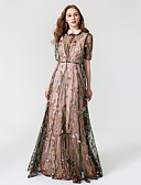 preiswerte Cocktailkleider-A-Linie Stehkragen Boden-Länge Chiffon / Tüll Kleid mit Stickerei durch TS Couture®