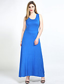 cheap Women's Dresses-Women's Plus Size Beach Cotton Loose / Shift / T Shirt Dress - Solid Colored Maxi U Neck