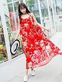 preiswerte Damen Kleider-Damen Strand Ausgehen Retro Niedlich Freizeit Swing Kleid Blumen Maxi Gurt