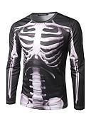 お買い得  メンズTシャツ&タンクトップ-男性用 プリント Tシャツ ストリートファッション ラウンドネック スカル ブラック L / 長袖