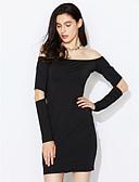abordables Vestidos de Mujer-Mujer Discoteca Corte Bodycon Vestido - Ahuecado, Un Color Mini Hombros Caídos