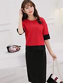 preiswerte Damen zweiteilige Anzüge-Damen Arbeit Kurz T-shirt - Einfarbig Hohe Hüfthöhe Rock / Sommer
