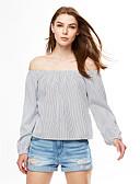 baratos Blusas Femininas-Mulheres Camiseta Sólido Algodão Decote Canoa