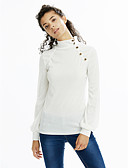 cheap Women's T-shirts-Women's Lantern Sleeve Cotton T-shirt - Solid Colored Turtleneck / Fall