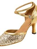olcso Mechanikus órák-Női Modern cipők Szandál / Magassarkúk Glitter / Csat Személyre szabott sarok Személyre szabható Dance Shoes Arany / Ezüst