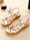 hesapli Elbiseler-Genç Kız Ayakkabı Yapay Deri Yaz Sonbahar Hafif Tabanlar Rahat Çiçekçi Kız Ayakkabıları Sandaletler Yürüyüş Elbise için Taşlı Altın Gri