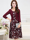 baratos Blusas para Meninas-Mulheres Tamanhos Grandes Algodão Rodado Vestido Geométrica Decote Quadrado Altura dos Joelhos