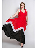 cheap Women's Dresses-Women's Plus Size Beach Vintage / Street chic Sheath / Chiffon / Swing Dress - Color Block / Patchwork Maxi Strap