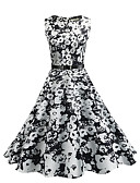 cheap Vintage Dresses-Women's Vintage Cotton Sheath / Swing Dress - Floral Vintage Style