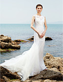 cheap Wedding Dresses-Mermaid / Trumpet Bateau Neck Sweep / Brush Train Lace / Tulle Made-To-Measure Wedding Dresses with Lace / Ruched by LAN TING BRIDE® / Beautiful Back