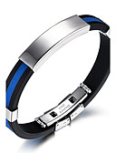cheap Sport Watches-Men's ID Bracelet - Titanium Steel Rock, Fashion, Hip-Hop Bracelet White / Red / Blue For Birthday / Gift / Sports