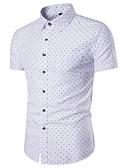 cheap Men's Shirts-Men's Slim Shirt - Polka Dot Print Spread Collar