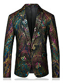 cheap Men's Blazers & Suits-Men's Formal Street chic Sophisticated Velvet Blazer-Rainbow,Print Notch Lapel / Long Sleeve