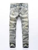 baratos Calças e Shorts Masculinos-Homens Algodão Delgado Jeans Calças - Sólido Vazado