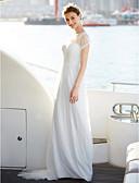 baratos Vestidos de Casamento-Linha A Ilusão Decote Longo Renda / Tule Vestidos de casamento feitos à medida com Pregueado / Renda de LAN TING BRIDE® /   Ilusão