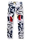 cheap Men's Pants & Shorts-Men's Slim Straight Jeans Pants - Multi Color, Floral Print