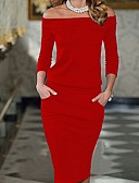 cheap Sweater Dresses-Women's Party / Going out Bodycon Dress - Solid Colored Red Off Shoulder / Slim