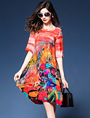 cheap Women's Dresses-Women's Going out Street chic Silk Loose / Shift Dress - Graphic Print V Neck