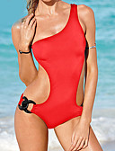 cheap One-piece swimsuits-Women's Solid Halter Neck Black Red One-piece Swimwear - Solid Colored S M L Black / Wireless / Sexy