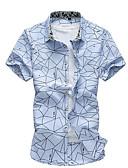 baratos Camisas Masculinas-Homens Camisa Social Estampado, Sólido Algodão Colarinho Clerical Delgado