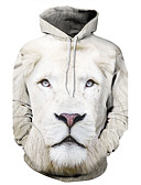 cheap Men's Tees & Tank Tops-Men's Plus Size Active Long Sleeve Hoodie - Animal Lion, Print / 3D Hooded White 4XL / Winter