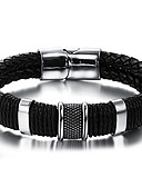 cheap Quartz Watches-Men's Braided Leather Bracelet - Stainless Steel, Leather Vintage, Punk, Rock Bracelet Black For Birthday / Dailywear / Sports Outdoor