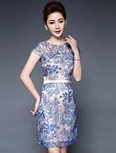 cheap Women's Dresses-Women's Embroidery Plus Size Chinoiserie Sheath Dress - Floral Spring Blue XXL XXXL XXXXL