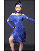 baratos Blusas Femininas-Dança Latina Roupa Espetáculo Fibra de Leite Mocassim / Cristal / Strass Manga Curta Alto Vestido / Neckwear / Braceletes