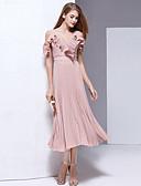 זול שמלות נשים-V עמוק גב חשוף קפלים שיפון, אחיד - שמלה גזרת A נדן סווינג בוהו חוף בגדי ריקוד נשים