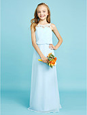 cheap Junior Bridesmaid Dresses-Sheath / Column Straps Floor Length Chiffon Junior Bridesmaid Dress with Crystals by LAN TING BRIDE® / Natural