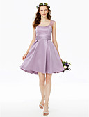 cheap Bridesmaid Dresses-Princess Straps Short / Mini Lace Satin Bridesmaid Dress with Buttons Lace Sash / Ribbon Pleats Ruched by LAN TING BRIDE®