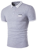cheap Men's Shirts-Men's Street chic Cotton Polo - Solid Colored Shirt Collar / Short Sleeve