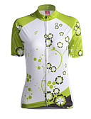 cheap Outlets-GETMOVING Women's Short Sleeve Cycling Jersey - Green Bike Jersey, Breathable Coolmax®