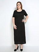 cheap Women's Dresses-Really Love Women's Plus Size Vintage Shift T Shirt Tunic Dress - Striped Split Maxi