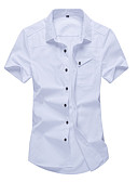cheap Men's Shirts-Men's Cotton Shirt - Solid Colored Classic / Short Sleeve