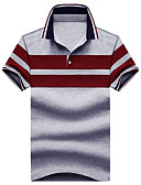 billige Herreskjorter-Bomull Skjortekrage Polo Herre - Stripet, Klassisk / Kortermet