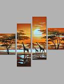 preiswerte Abendkleider-Hang-Ölgemälde Handgemalte - Landschaft Künstlerisch / Abstrakt / Modern / Zeitgenössisch Fügen Innenrahmen / Vier Panele / Gestreckte Leinwand