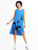 halpa Pluskokoiset mekot-Naisten Pluskoko Puuvilla Löysä Mekko Painettu Polvipituinen Sininen