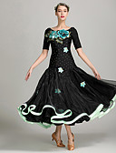 levne Kostýmy na standard-Standardní tance Dámské Výkon Spandex Aplikace / Mašličky Krátké rukávy Přírodní Šaty