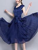 baratos Vestidos de Mulher-Mulheres Tamanhos Grandes Para Noite Sofisticado balanço Vestido Sólido Cintura Alta Médio Azul