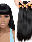 cheap Men's Tees & Tank Tops-4 Bundles Brazilian Hair Straight 10A Virgin Human Hair Natural Color Hair Weaves / Hair Bulk 8-28 inch Human Hair Weaves Silky Extention Natural Human Hair Extensions