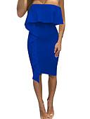 preiswerte Damen Kleider-Damen Bodycon Kleid - Rüsche, Solide Trägerlos